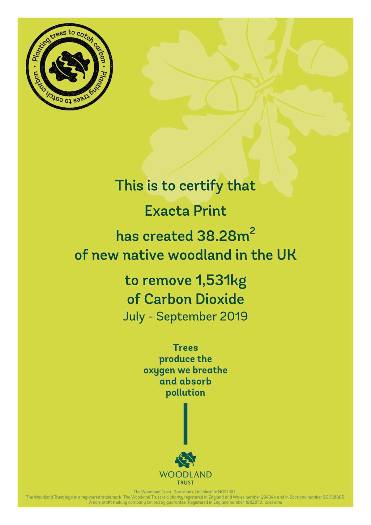 Exacta Print Carbon Capture certificate Q3 2019