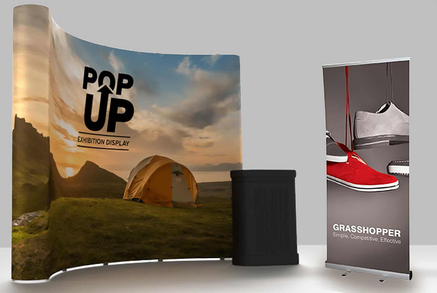 Image of a popup exhibition stand, podium and roller banner.