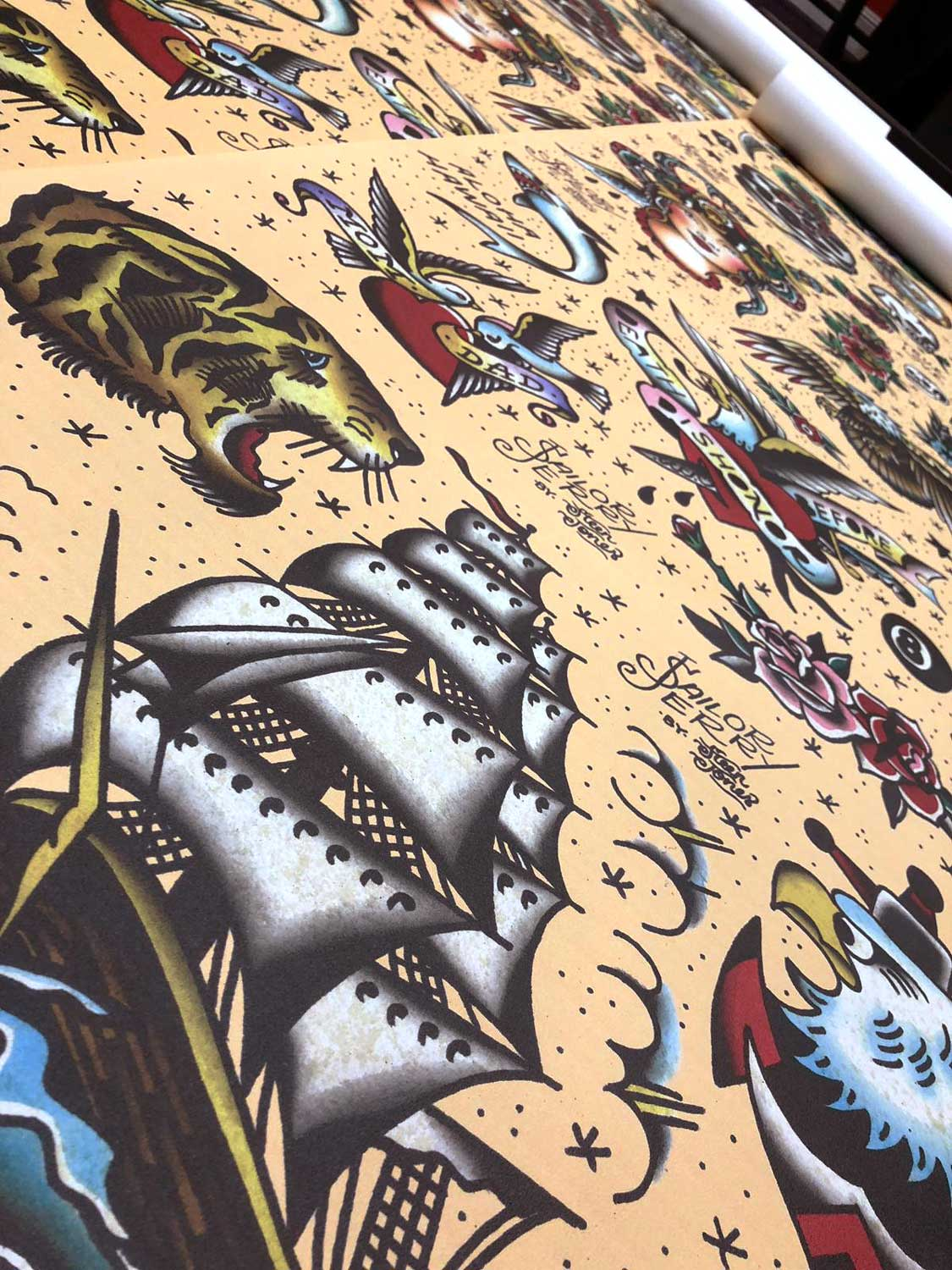 A particularly angled image of printed wallpaper featuring a Sailor Jerry style print