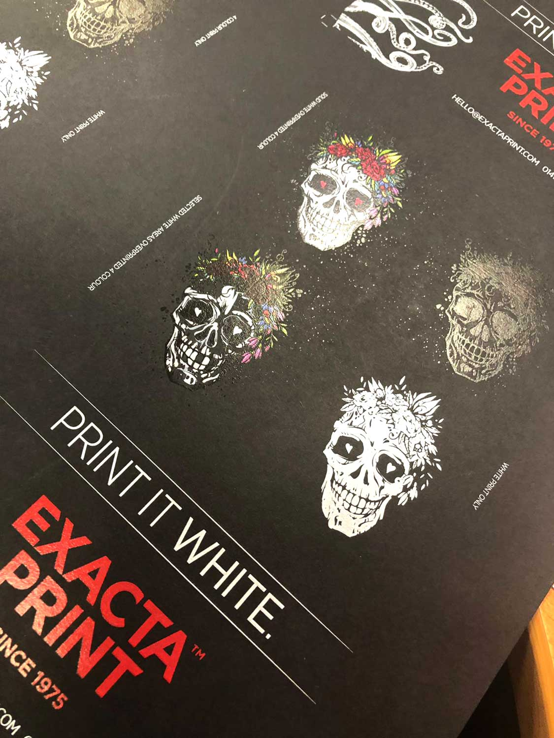 A sheet of black card with Día de Muertos styled skulls printed with white ink