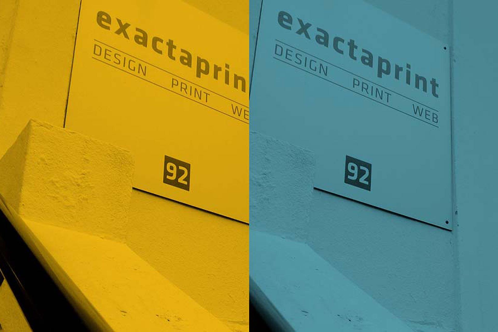 Dual tone (yellow + cyan) image of Exacta Print shop sign and hand rail